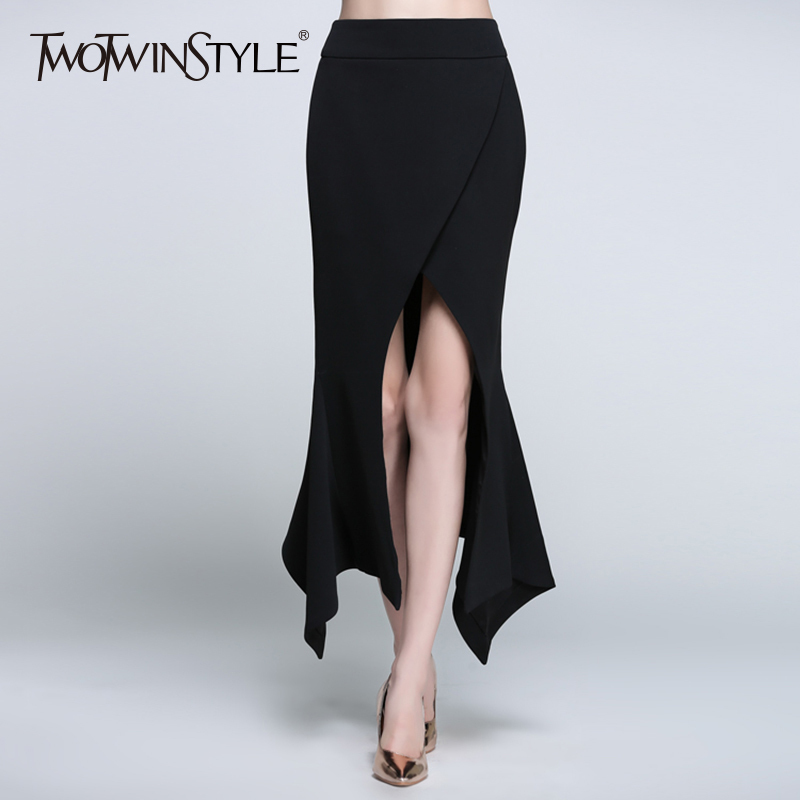 TWOTWINSTYLE Irregular Skirt Female High Waist Zipper Bodycon Split Sexy Midi Long Skirts 2019 Spring Fashion Ladies Clothing