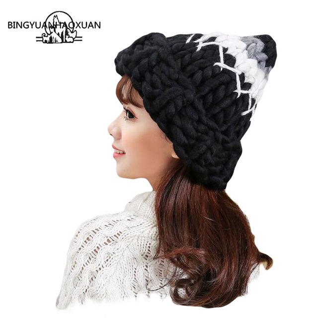 BINGYUANHAOXUAN2017 Warm Patchwork Hats Casual Female Autumn Winter Hats Handmade Coarse Knitted Hat For Women Beanies Candy Cap