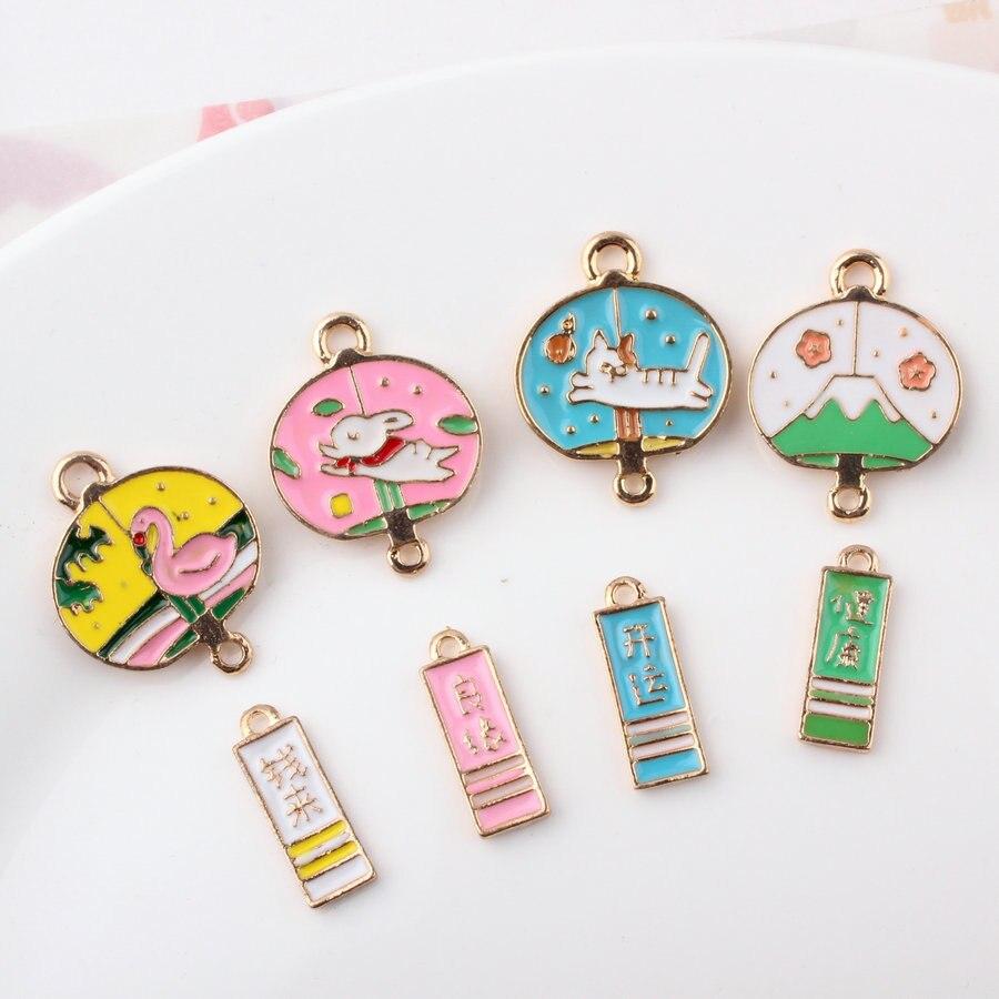 10 Stücke Diy Japan Emaille Segen Wind Glocke Charms Mount Fuji Ohrring Armband Schmuck Gold Farbe Legierung Kleine Armband Anhänger