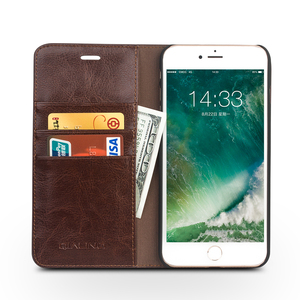 Image 4 - QIALINO Case for iPhone 7 Handmade Genuine Leather Wallet Case for iphone 7 plus luxury Ultra Slim Flip holster