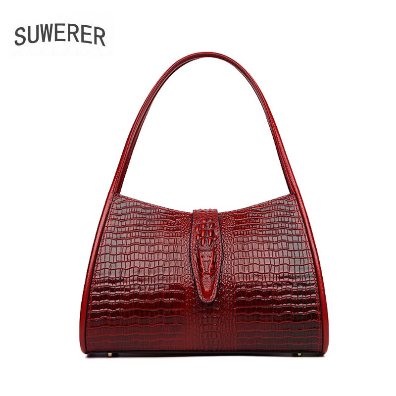 2018 new Women's handbags New temperament commuter bag First layer of leather simple handbag Crocodile pattern shoulder bag