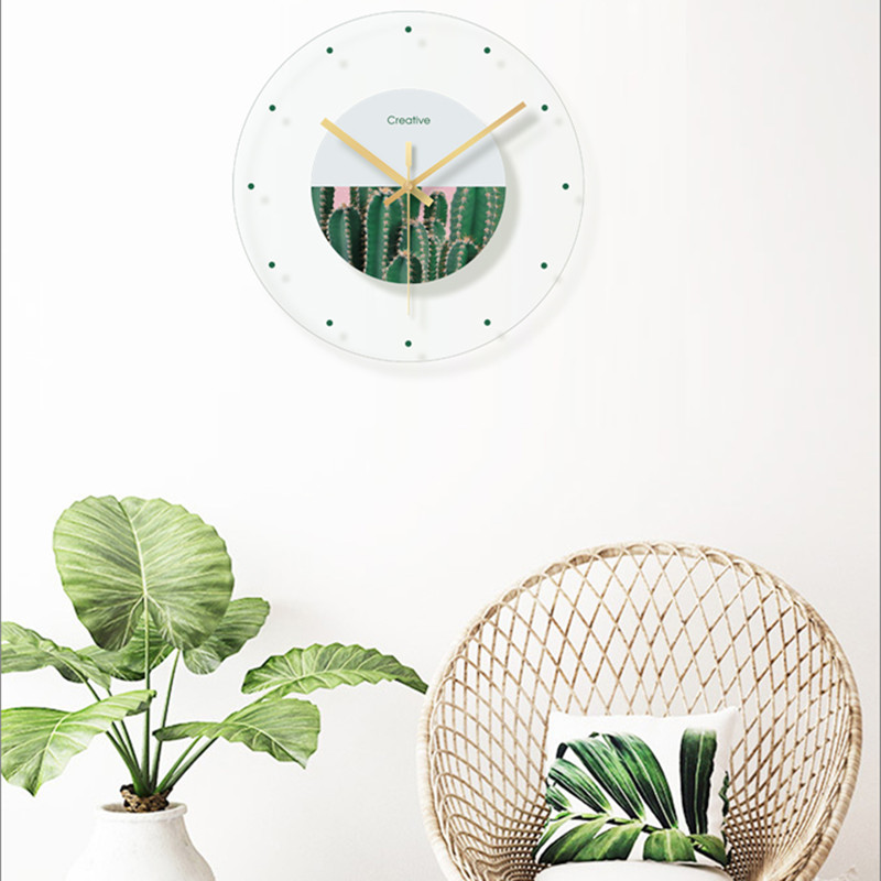 Green plant flower decoration wall hanging room clock (2)