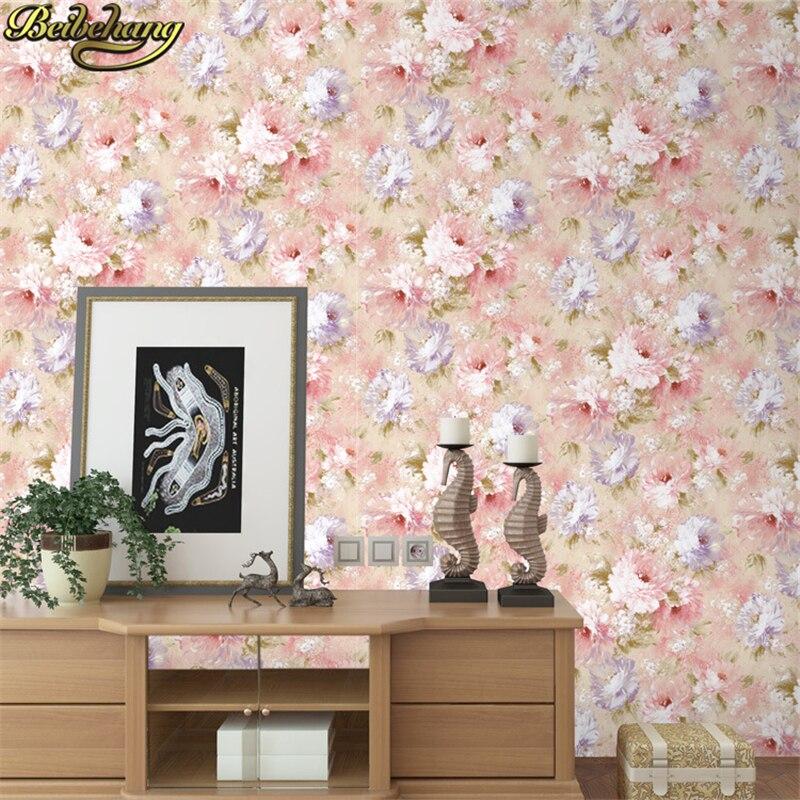 Hot Sale Beibehang Romantic Garden Flowers Wall Paper Roll Home