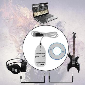 ALLOYSEED Guitar to USB Sound Player Sound Card Effector Interface Guita Link Audio Cable cord line wire Adapter for PC computer image