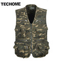 TECHOME Multi Pocket Camouflage Vest Men Casual Travel Waistcoat Cotton Fish Sleeveless Jacket Camo Caza Vest Straight Clothes