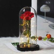 Светодиодный светильник «Красавица и Чудовище» с розами, Рождественский деревянный купол, стеклянная крыша, подарок на день Святого Валентина, подарки на день матери