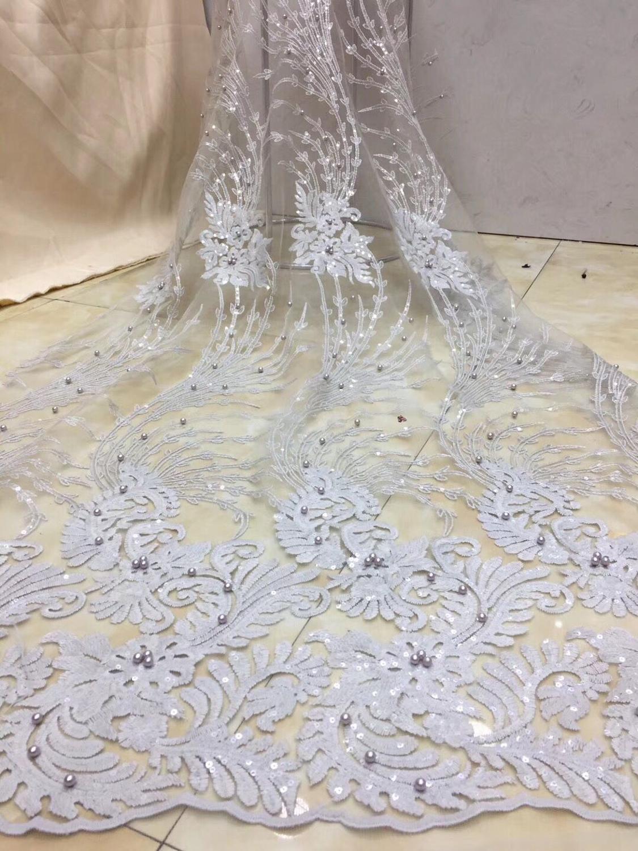 2019 niebo niebieski afryki tkaniny koronki francuski wysokiej jakości bridal paciorkami nigerii koronki tiul koronki tkaniny na wesele w Koronka od Dom i ogród na  Grupa 3