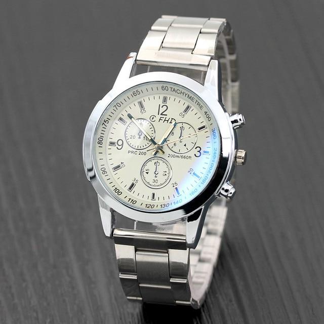2018 Men Watches Stainless Steel Wrist Date Analog Quartz Watch Mens Luxury Brand Waterproof Clock Sport Wristwatches