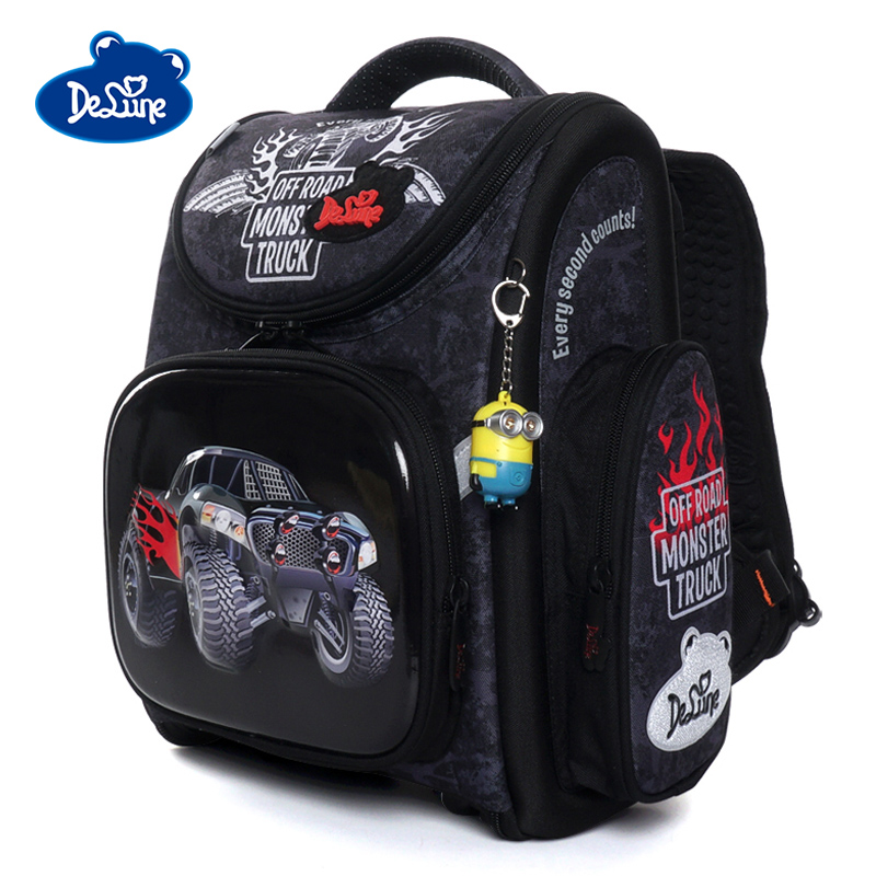 Delune New Orthopedic Backpack Car Pattern School Bags For Boys Girls Cartoon Backpacks Children Primary Mochila Infantil 3-162