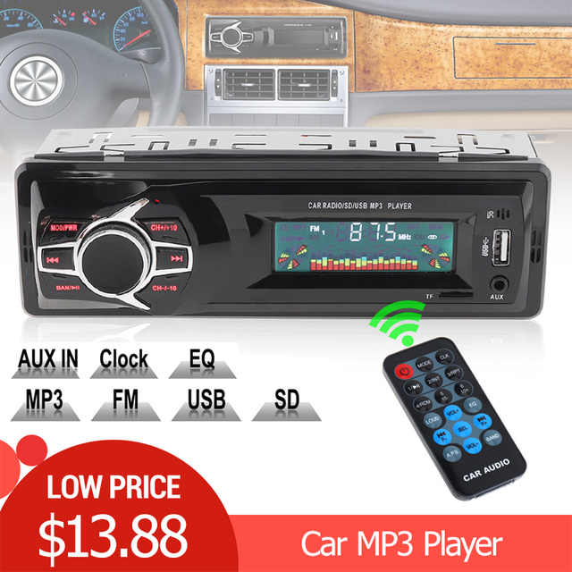 12V LCD Display Car Radio MP3 Player Vehicle Stereo Audio In-Dash Aux Input Receiver Support TF/FM/USB/SD with Remote Control