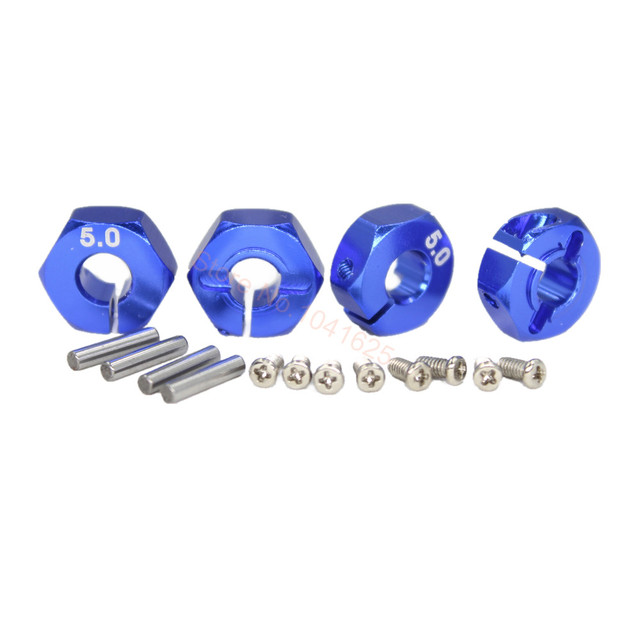 4pcs Aluminum 5.0 Wheel Hex 12mm Drive Hubs With Pins Screws CNC For RC Car Trucks Buggies HSP HPI Tamiya