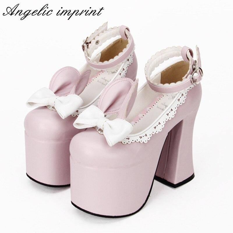 9.5cm Block High Heel Cute Rabbit Era Sweet Lolita Shoes Pink Leather Platform Ankle Strap Pumps