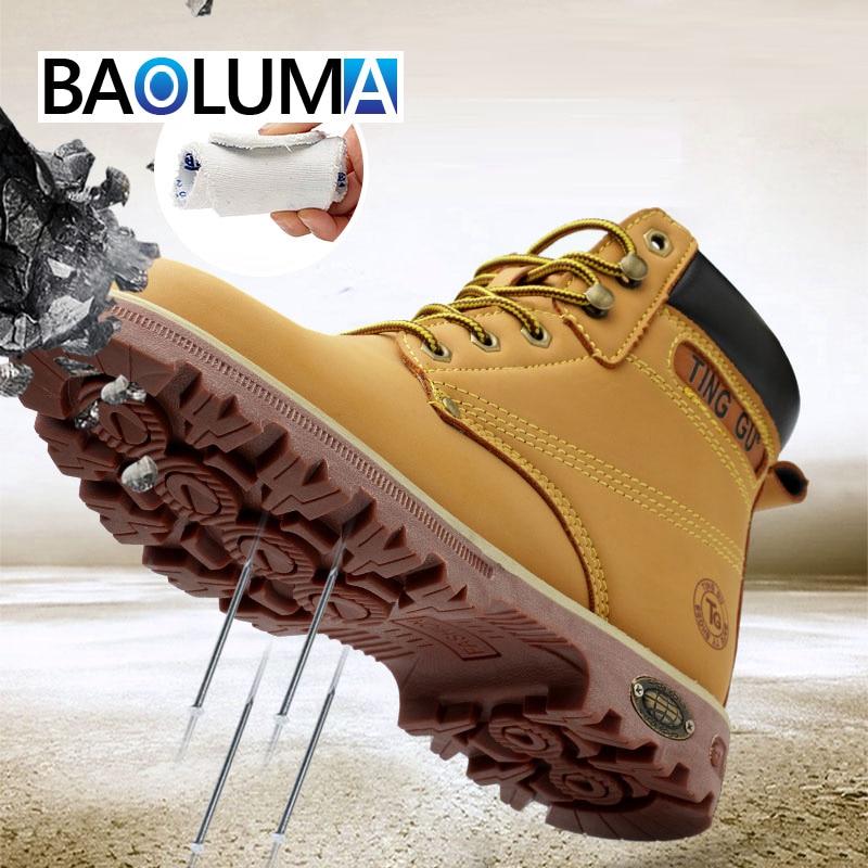 Marque hommes bottes de travail homme acier anti-crevaison Construction bottes de sécurité pour homme Martin bottes hommes assurance du travail crevaison chaussure