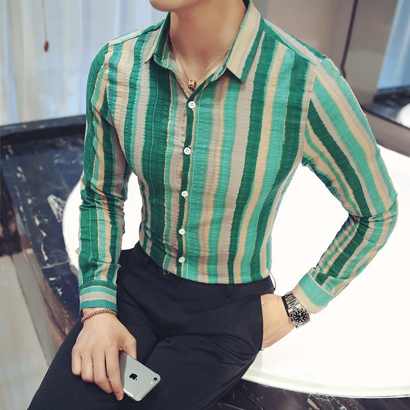 New Camisa Masculina Fashion 2019 Slim Fit Casual Men Shirt Long Sleeve Striped Mens Social Shirts Hot Sale Camisas Para Hombre
