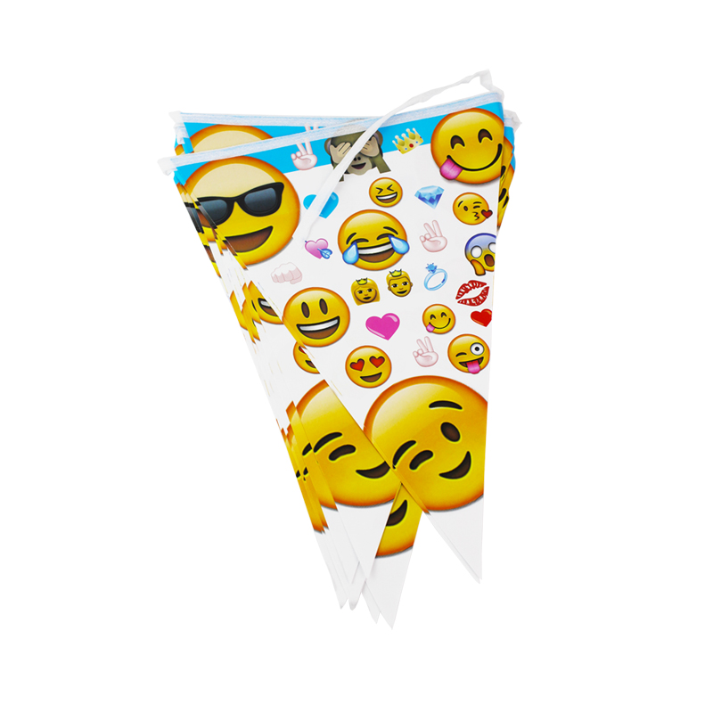 12flags Cartoon Pattern Smiley Face Expression Theme Party Birthday Party Decoration Banner For Children kids Party Supplies