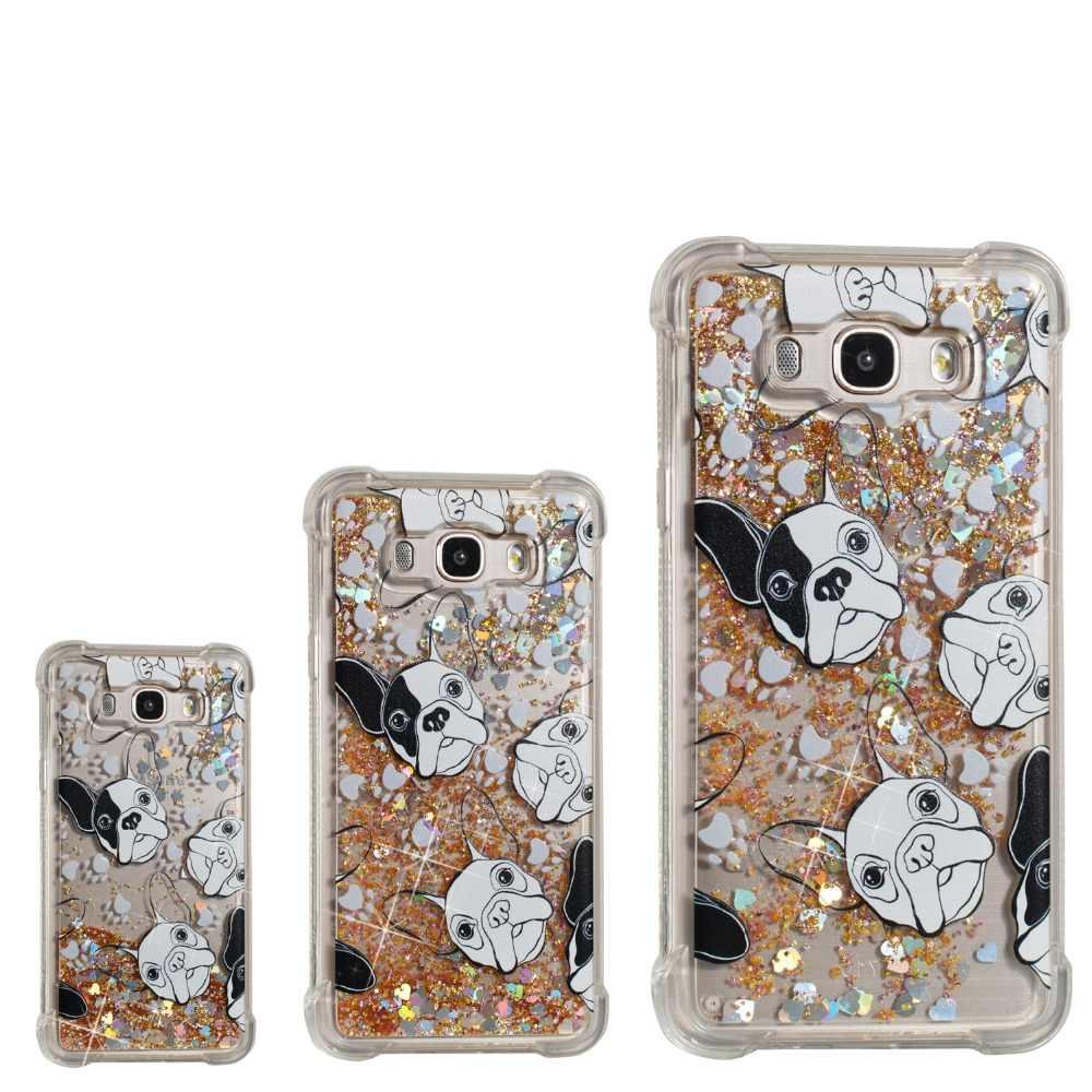 Эйфелева башня пони кошка собака ветер Белл кристалл алмаза Bling Жидкий блеск телефон чехол для Samsung Galaxy G530 J1 J3 j730 J7 j310