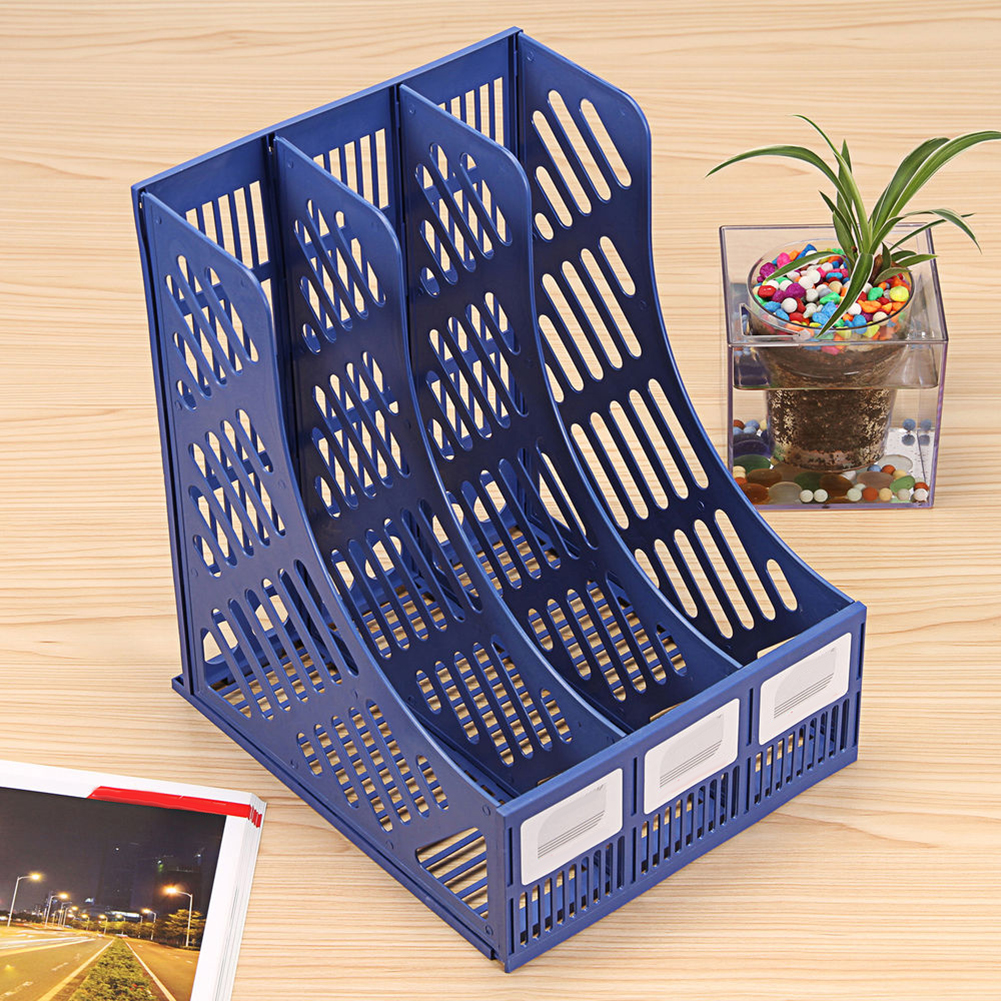 3 Sections Magazine File Stand Holder Home Office Document Tray Storage Desk Organizer