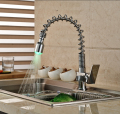 Chrome Brass Spring Pull Out/down Kitchen Faucet with LED Light Deck Mount Single Handle