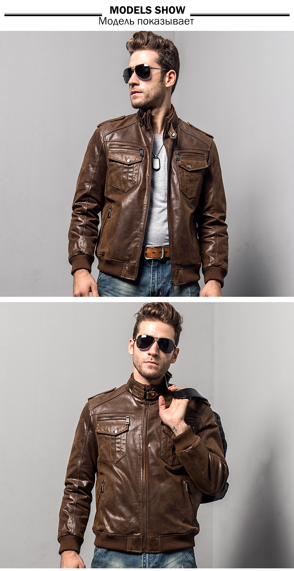 Men's pigskin motorcycle real leather jacket padding cotton winter warm coat male Genuine Leather jacket