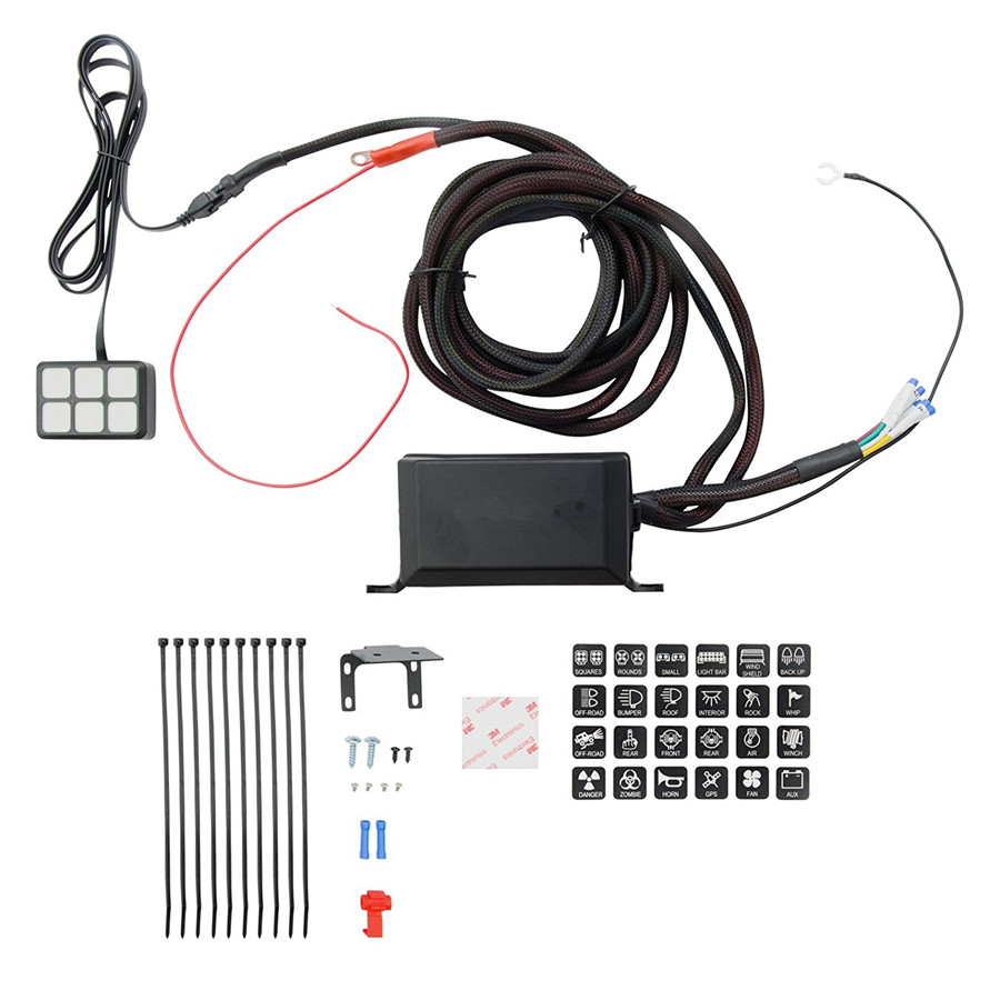 Dc 12v Switch Relay Control Panel With Wiring Kit Universal For Car Led 6 Key Box Harness Vehicle