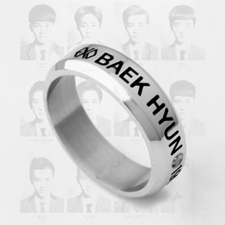 Kpop exo BAEKHYUN birthday date titanium steel ring tail ring anel uomo 8.5 size Send leather cord boxes k-pop men women Jewelry