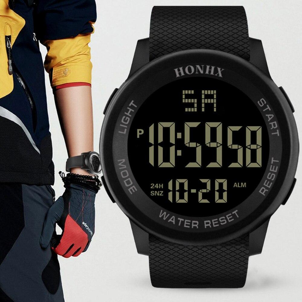 Relojes para hombre de moda HONHX, resistente al agua, militar, analógico, Digital, militar, fecha, goma, deporte, LED, reloj de pulsera, reloj Relojes de pulsera para mujer, marca de lujo, reloj de pulsera de acero plateado para mujer, reloj de pulsera de diamantes de imitación para mujer, reloj femenino, reloj femenino