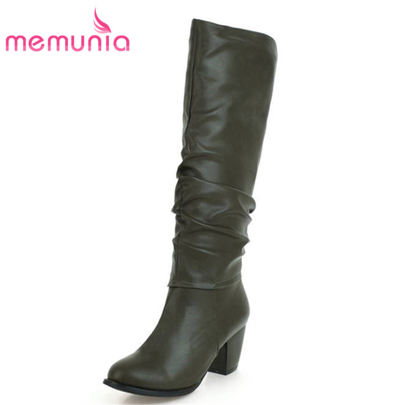 MEMUNIA 2018 new arrival knee high boots women slip on round toe autumn winter boots solid colors high heels shoes woman memunia slip on womens boots in autumn winter high heels shoes woman knee high boots fashion sweet platform boots big size 34 45