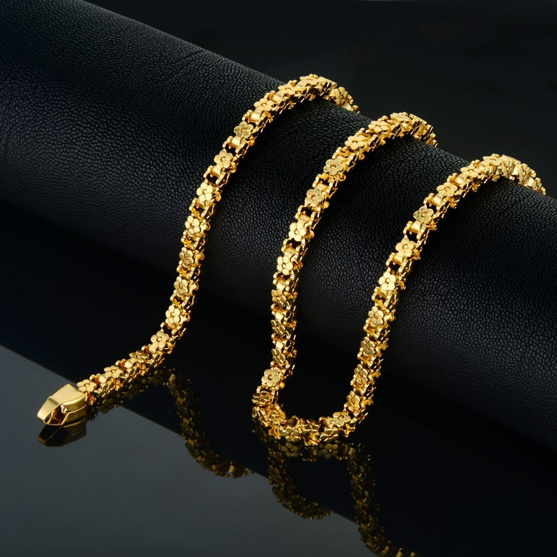 Chunky Gold Chain Necklace Men Embossing 5mm Vintage Party