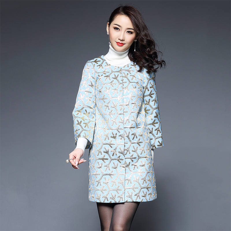 Plus size S-5XL 2017 spring snowflake embroidered Trench coat women o-Neck jacquard outerwear womens trenches mother cloth