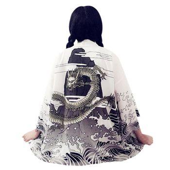 EFINNY Vintage Summer Women Cardigan Dragon Waves Printed Chiffon 2018 Sun Protection Kimono Shirt Outerwear drop shoulder printed kimono