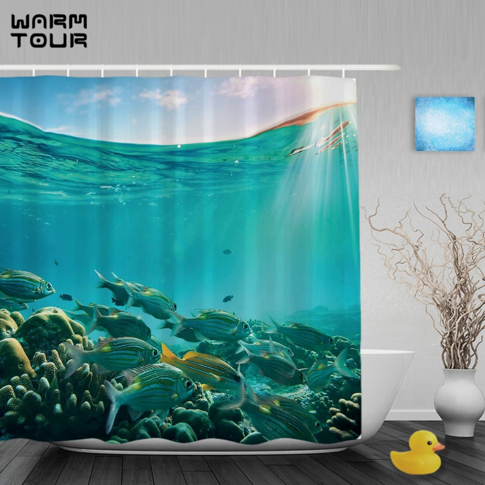 WARM TOUR Tropical Sea Creatures Shower Curtain Coral Reef