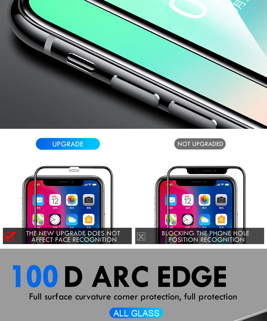 100D Curved Edge Full Cover Protective Glass On The For iPhone 7 8 6 6S Plus Tempered Screen Protector iPhone X XR XS Max Glass 8