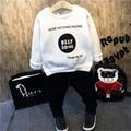 Children autumn winter Hoodies Sports Suit Clothing Sets White Blouse + Jeans Baby Boys letter sweatshirt Clothing warm jeans