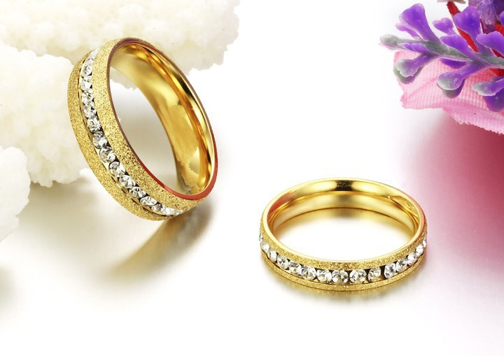 Female 4mm Shining Crystal Drill brushed 316L Stainless Steel Rings Fashion Gold glaze Wholesale Designed Lover Gift