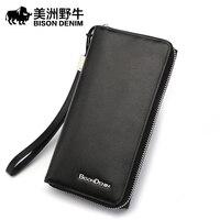 Bison Leather Handbag Male Male Bag Wristlet Leisure Hand Baotou Cowhide Multi Card Long Wallet
