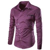 Business Men Long Sleeve Dress Shirt Brand Male Fashion Cotton Solid Casual Man Shirt Slim Fit Purple 4 Colors C1024