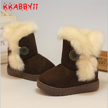 Ciepłe dzieci Snow Boots dla dzieci nowy Toddler zima Księżniczka dzieci buty antypoślizgowe płaskie okrągłe toe Girls Baby Lovely Boots tanie tanio 7-9Y 13-18M 2-3Y 19-24M 4-6Y 10-12M 10-12Y Gumowe Tkanina bawełniana Slip-on Płaskie z Okrągły palec Masz Platformy