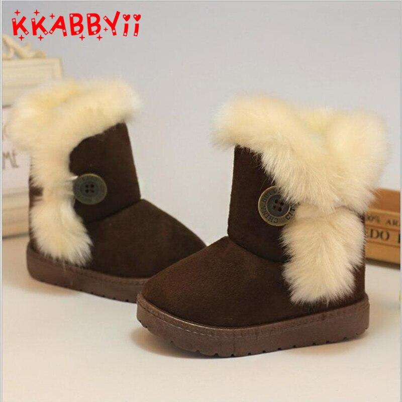 Warme Kinder Schneeschuhe Für Kinder Neue Kleinkind Winter Prinzessin Kind Schuhe Non-slip Flache Runde Kappe Mädchen Baby schöne Stiefel