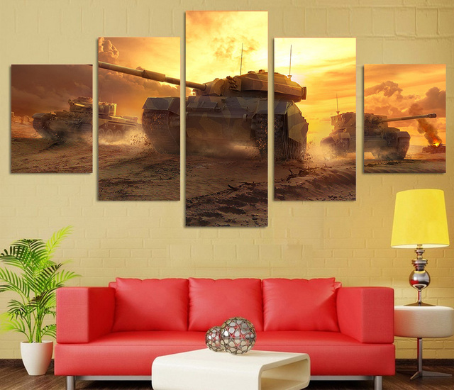 5 Pieces Canvas Prints Tanks sunset scenery painting Wall Art Panels ...