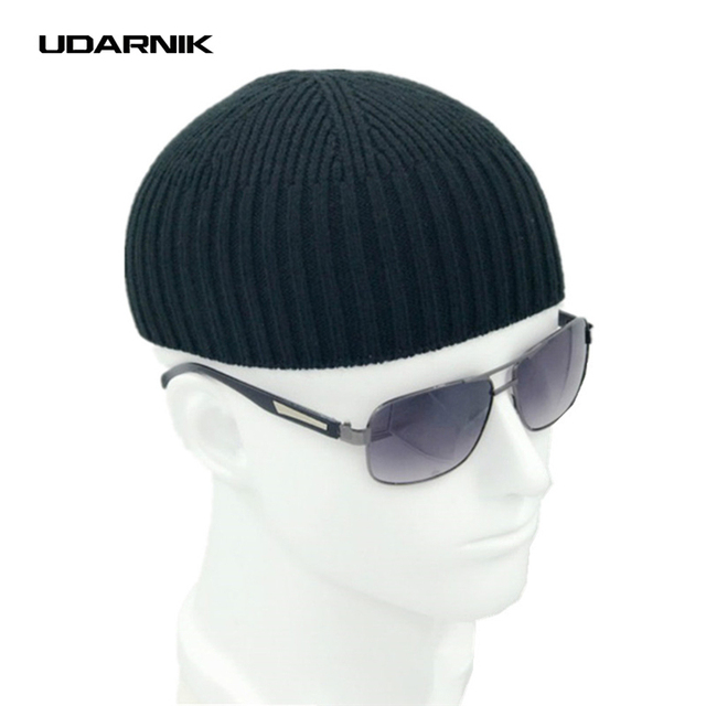 גברים סרוגים כובע צמר תערובת כפת כיפת כובע חסר שולים היפ הופ כובעי מזדמן שחור כהה אפור רטרו בציר אופנה חדש 904-897