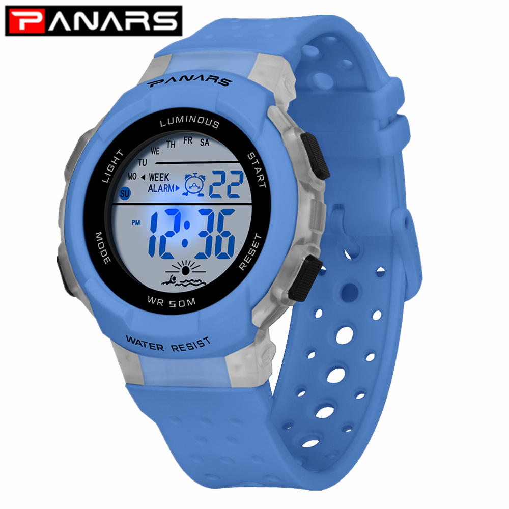 PANARS Children Sports Digital Watches Colorful 7 LED Night Lights Waterproof Wrist Watch Breathable Perforated Strap For Kids