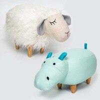 Милые животные табуреты овец Бегемот детей Османов Детский сад Дети обуви скамейке многофункциональный простой стул