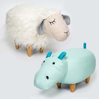Chpermore Cute animal Stools Sheep hippo Children Ottomans Kindergarten Kids shoe bench Multifunction Simple Chair