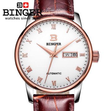 Fashion Wholesale Watches Brand Brown Cow Leather Roman Rose Gold Watch Auto Date Automatic  Binger Wristwatch Complete Calendar famous brand binger watches fashion brown leather strap mechanical casual watch gold date men dress wristwatch 200m waterproof