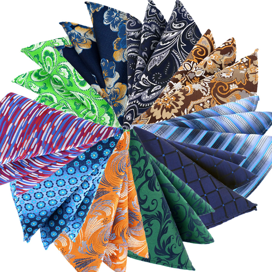 Fashion Mens Pocket Square 25CM Handkerchief Plaid Floral Paisley Hanky Men Suit Chest Towel Accessories For Business Party Gift