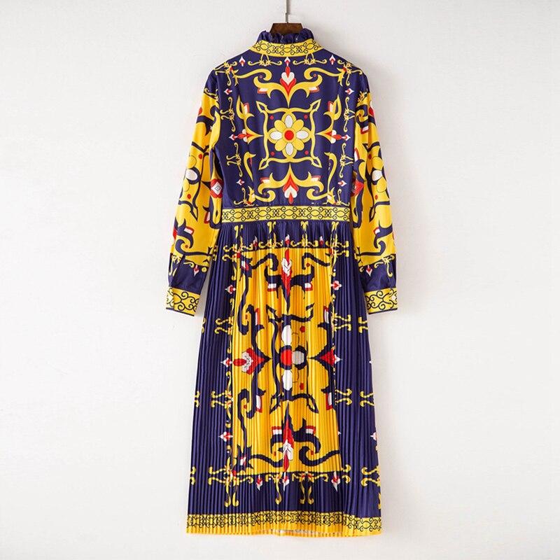 Haute Imprimer Robes L'europe Mi Arc Qualité Mi De Longues Femmes Des Designer Piste Automne mollet À États Nouveau Et Manches Col unis 2018 qxO0SRE4n
