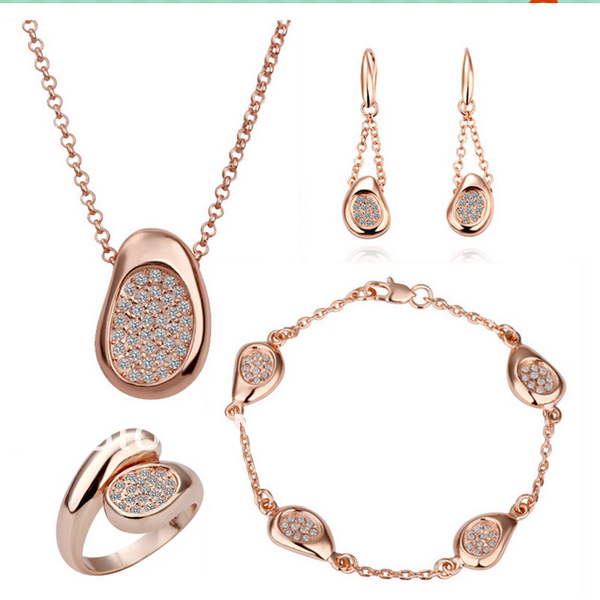 4e1c90097 LS147 Fashion Rose Gold Color Crystal Pave Bean Pendant Necklace Bracelet  Dangle Earring Ring Women 4 Piece Jewelry Sets