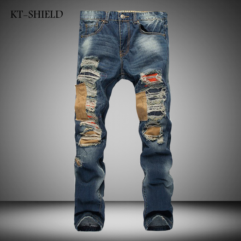 Hot Sale New Mens Jeans Famous Brand Ripped biker jeans Men High Quality Elastic Denim Baggy Pants Skinny Hip Hop jeans homme 2017 fashion patch jeans men slim straight denim jeans ripped trousers new famous brand biker jeans logo mens zipper jeans 604