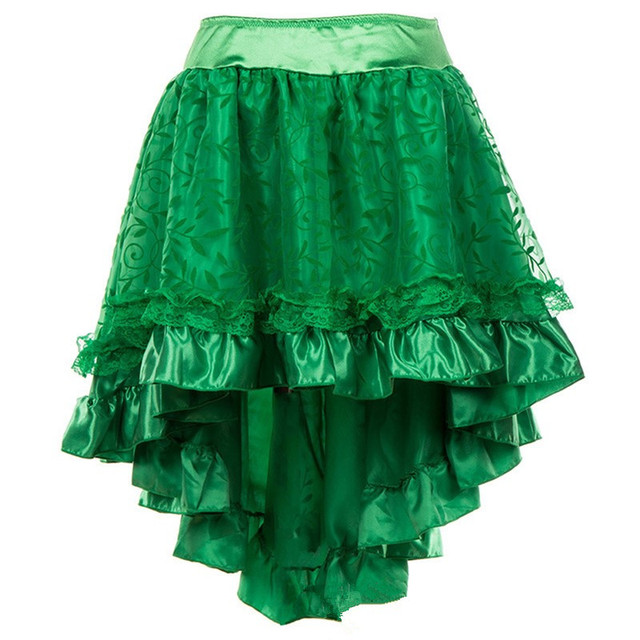 e1d4a4370f9f Abbille Women s Steampunk Party Lace Skirt with Zipper Green Black Brown Floral  High Low Skirt Gothic Vintage Sexy Skirt 5XL 6XL