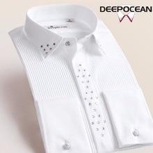 Deepocean, брендовая рубашка, мужские официальные рубашки, модная новинка, длинная Мужская рубашка, мужские топы, многоцветная, 9XL, Camisa Masculina, рубашки DaDDX55533L